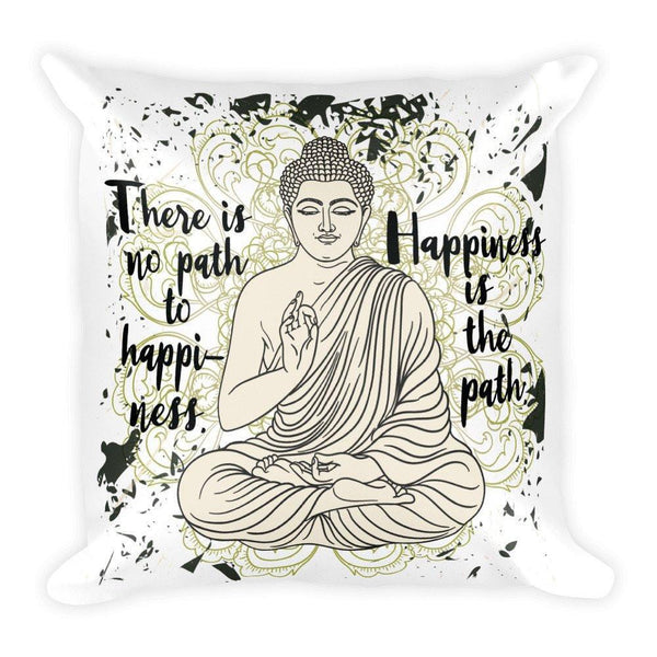 "PATH TO HAPPINESS Little Buddha Meditation Pillow (Cover & Inserts) * All Over Silky Printed on Both Sides * 18""X18""-YogaStatement.com"