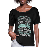 ABC through Z Feel Good Typography - Abraham-Hicks Inspired - Women's Flowy T-Shirt - SP - black