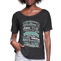 ABC through Z Feel Good Typography - Abraham-Hicks Inspired - Women's Flowy T-Shirt - SP - charcoal gray