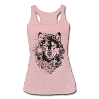 HUSKY BOHO STYLE * Women's Tri-Blend Racerback Tank - heather dusty rose