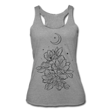 FLOWERS BLOOM WITH MOON & STARS * Women's Tri-Blend Racerback Tank - heather gray