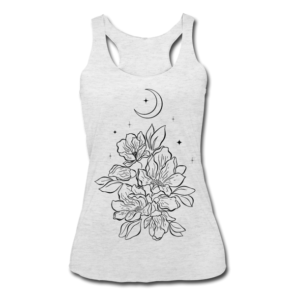 FLOWERS BLOOM WITH MOON & STARS * Women's Tri-Blend Racerback Tank - heather white