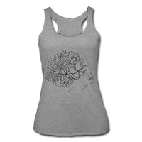 GIRL DREAMING OF FLOWERS * Women's Tri-Blend Racerback Tank - heather gray