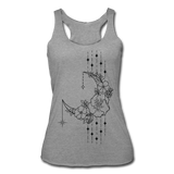 MOON FLOWERS & STARS * Women's Tri-Blend Racerback Tank - heather gray