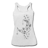 MOON FLOWERS & STARS * Women's Tri-Blend Racerback Tank - heather white