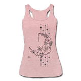 MOON FLOWERS & STARS * Women's Tri-Blend Racerback Tank - heather dusty rose