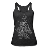 FLOWERS BLOOM WITH MOON & STARS * Women's Tri-Blend Racerback Tank - heather black