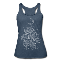 FLOWERS BLOOM WITH MOON & STARS * Women's Tri-Blend Racerback Tank - heather navy