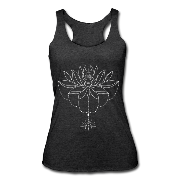 ENCHANTED LOTUS * Women's Tri-Blend Racerback Tank - heather black