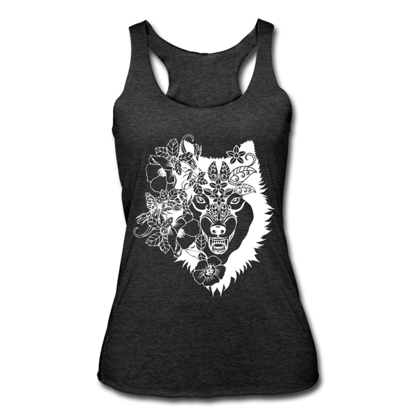 WOLF BOHO STYLE * Women's Tri-Blend Racerback Tank - heather black