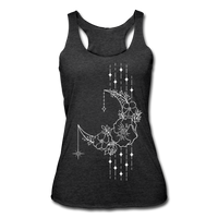 MOON FLOWERS & STARS * Women's Tri-Blend Racerback Tank - heather black