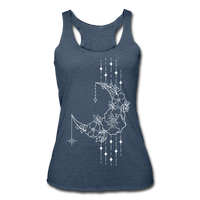 MOON FLOWERS & STARS * Women's Tri-Blend Racerback Tank - heather navy