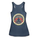 WHATEVER COMES LET IT COME * Women's Tri-Blend Racerback Tank - heather navy