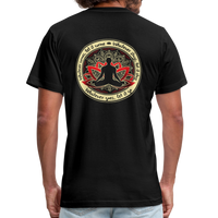 WHATEVER COMES Buddha Meditating * Unisex Jersey T-Shirt by Bella + Canvas - SP - black