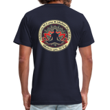 WHATEVER COMES Buddha Meditating * Unisex Jersey T-Shirt by Bella + Canvas - SP - navy