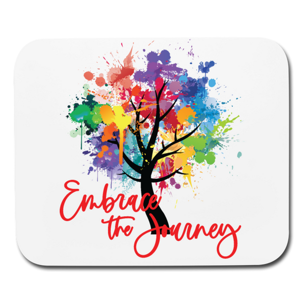 EMBRACE THE JOURNEY Mouse Pad Horizontal Red Text - SP - white