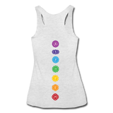 SEVEN CHAKRAS Symbols - Women's Tri-Blend Racerback Tank (Back Print) - heather white