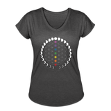 FLOWER OF LIFE MOON PHASES CHAKRAS - Women's Tri-Blend V-Neck T-Shirt - SP - deep heather