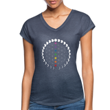 FLOWER OF LIFE MOON PHASES CHAKRAS - Women's Tri-Blend V-Neck T-Shirt - SP - navy heather