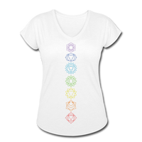 SEVEN CHAKRAS Line Art - Women's Tri-Blend V-Neck T-Shirt - SP - white