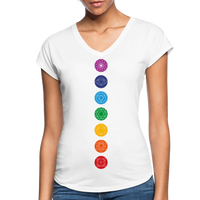 SEVEN CHAKRAS Bright - Women's Tri-Blend V-Neck T-Shirt - SP - white
