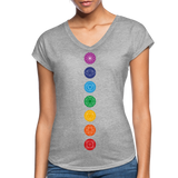 SEVEN CHAKRAS Bright - Women's Tri-Blend V-Neck T-Shirt - SP - heather gray