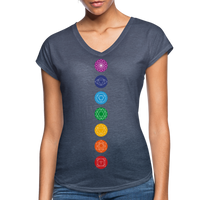 SEVEN CHAKRAS Bright - Women's Tri-Blend V-Neck T-Shirt - SP - navy heather