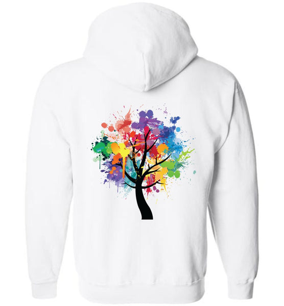 TREE OF LIFE Watercolor Abstract Graphics * Heavy Blend Full Zip Hooded Sweatshirt-YogaStatement.com