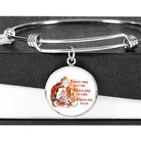 WHATEVER COMES Buddha Meditation Paint Splash - High Quality Circle Pendant Luxury Bangle-YogaStatement.com
