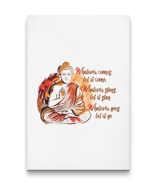 WHATEVER COMES Buddha Sitting Meditating Watercolor - Portrait Luxury High Quality Canvas Wall Art-YogaStatement.com