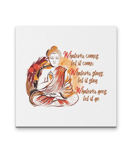 WHATEVER COMES Buddha Sitting Meditating Watercolor - Square Luxury High Quality Canvas Wall Art-YogaStatement.com