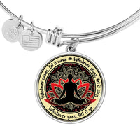 WHATEVER COMES Buddha Yoga Meditation - High Quality Circle Pendant Luxury Bangle-YogaStatement.com