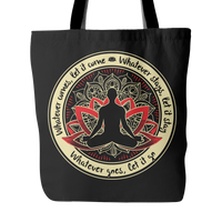 "WHATEVER COMES * Lotus Mandala Buddha * Unique Attractive Yoga Gift * Black Tote Bag 18""X18""-YogaStatement.com"