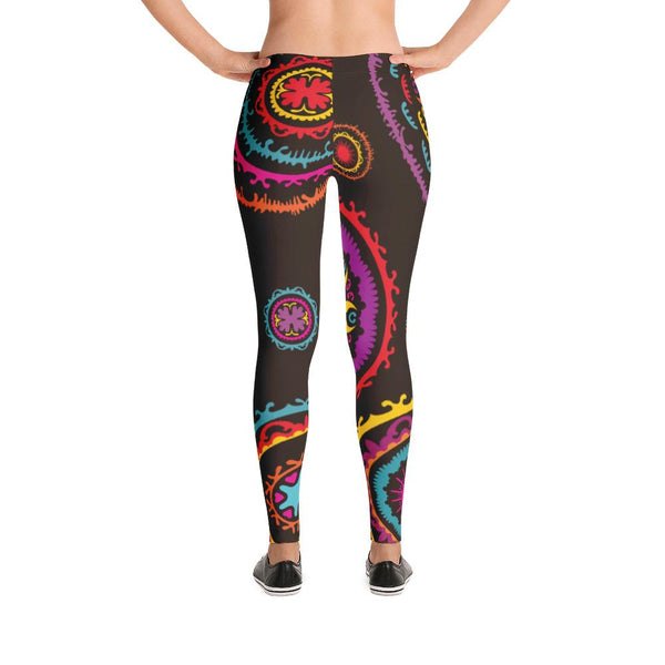 YOGA ART LEGGINGS - Bohemian Dark Chocolate Pants w/ Large Bright Mandalas - DANCE-YogaStatement.com