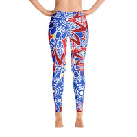 YOGA ART LEGGINGS - Bohemian Yoga Pants w/ Red/Blue/Yellow Starburst Mandalas - DISCOVER-YogaStatement.com