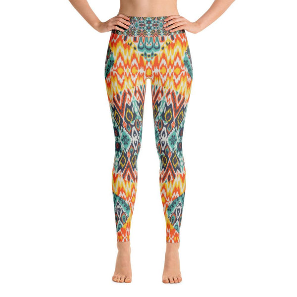 YOGA ART LEGGINGS W/ Raised Waistband - SUNBURST-YogaStatement.com