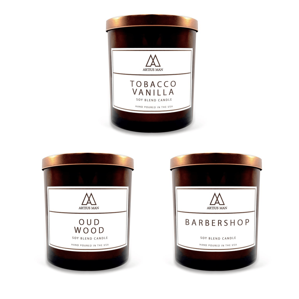Soy Blend Wood Wick Candle - Trio - Artius Man