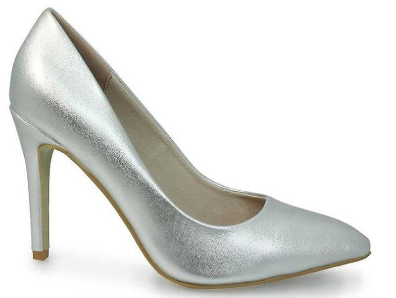 Lunar Ladies Powell II Silver Court Shoe FLC091 - Finn Footwear
