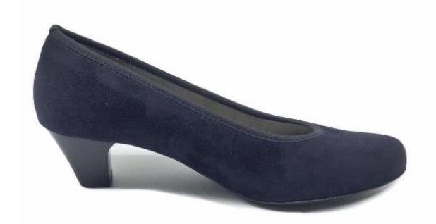 Ara Ladies Navy Nubuck Court Shoe 54220-74 - Finn Footwear