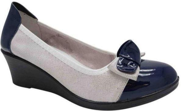 Inea Ladies Shining Silver Blue Wedge Shoe Serena - Finn Footwear