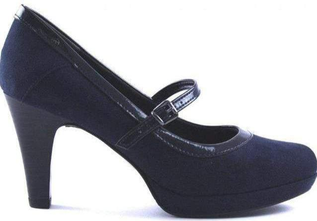 S.Oliver Ladies Navy Strap Court Heel Shoe 24402-21 - Finn Footwear