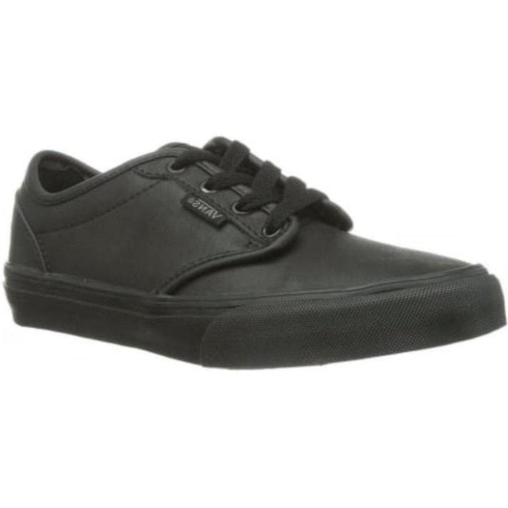 09a863247128 Vans Atwood Boys and Girls Black Leather Trainer