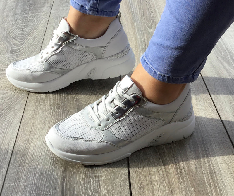 Jana-Softline Ladies Silver Comb. Athleisure Shoe 23661-24 - Finn Footwear