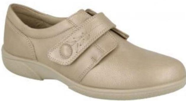 Easy B Healey Ladies Champagne Velcro EE Fit Shoe - Finn Footwear