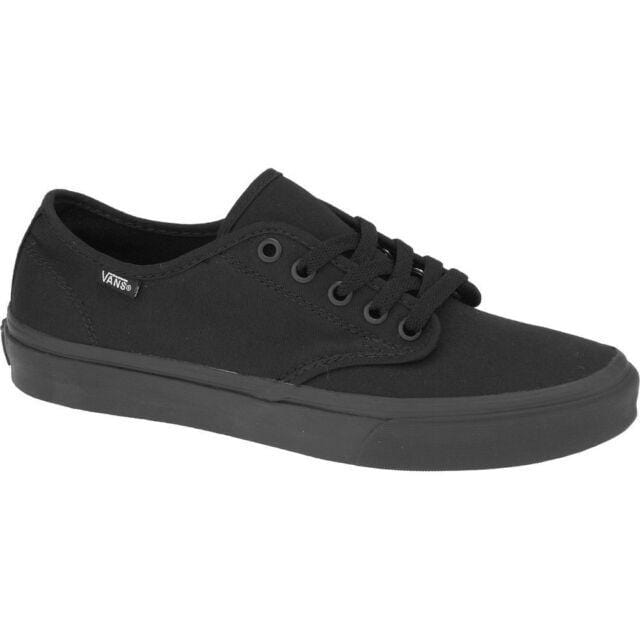 Vans Camden Stripe Laced Black / Black Canvas Trainer - Finn Footwear