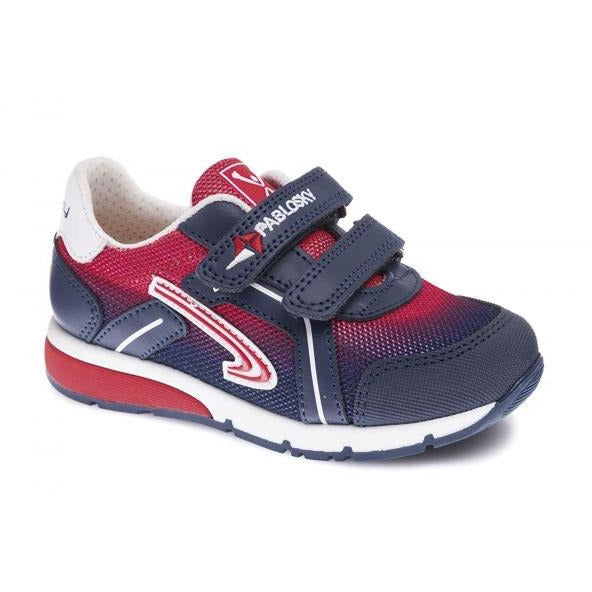 Pablosky Boys Navy/Red Double Velcro Trainer 275321 - Finn Footwear