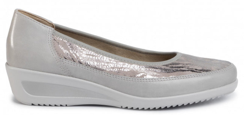 Ara Zurich Ladies Silver Slip On Shoe 40617-76 - Finn Footwear