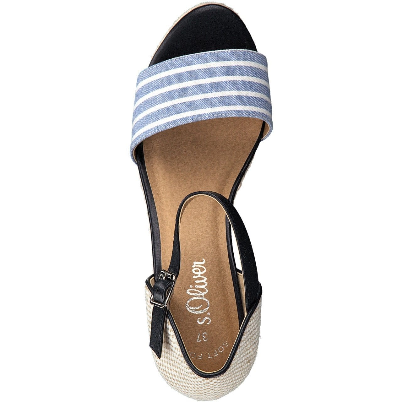 098a4171ef6f48 ... S.Oliver Ladies Navy Combination Wedge Sandal 28315-22 891 - Finn  Footwear