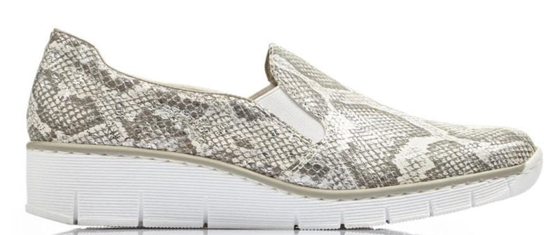 Rieker Ladies Snakeskin Slip on Shoe 53766-40 - Finn Footwear