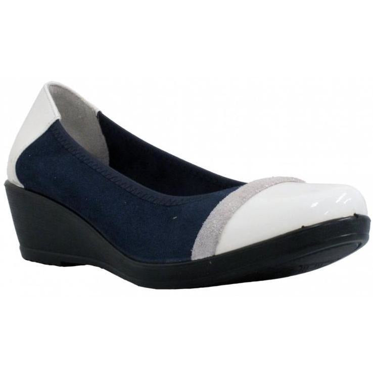 Inea Ladies White Navy Wedge Shoe Idole - Finn Footwear